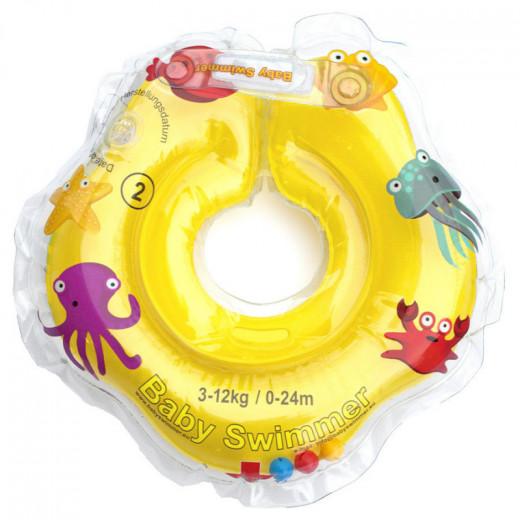 Baby Swimmer plaukimo ratas kūdikiams ant kaklo 3-12 kg., geltonas