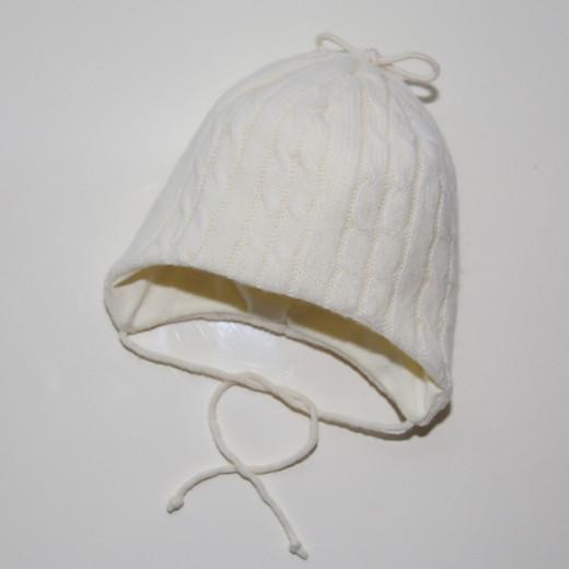 Šilta merino vilnos kepurė kūdikiui kreminė VILAURITA 62