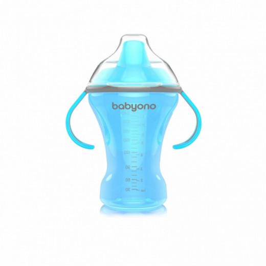 Neišsiliejantis puodelis kietu snapeliu NATURAL NURSING 260ml mėlynas BabyOno 1457
