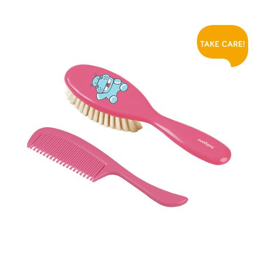 BabyOno natūralių šerių ypatingai minkštas plaukų šepetys + šukutės nuo 0+ mėn.,rožinis  568