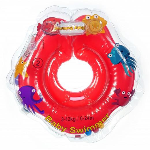 Baby Swimmer plaukimo ratas kūdikiams ant kaklo 3-12 kg., raudonas