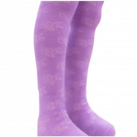 Merino vilnos pėdkelnės vaikams Rožytės violetinės