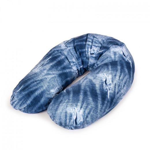 Maitinimo pagalvė MULTI, plėšyti džinsai, mėlyna