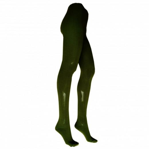Šiltos alyvuogių spalvos pėdkelnės su 31% vilna moterims 24995