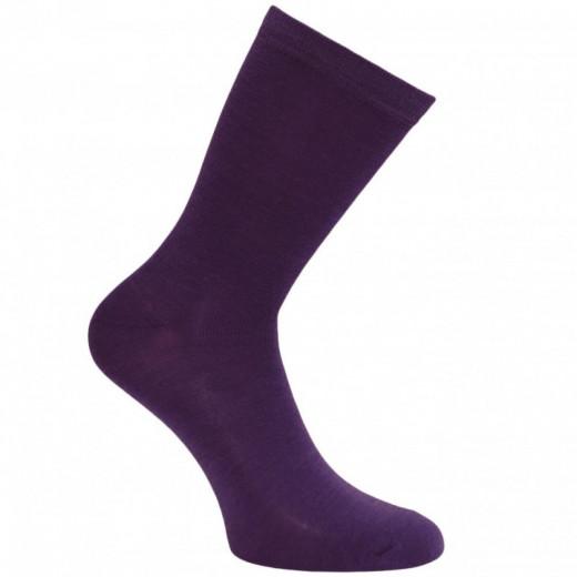 Šiltos plonos vilnonės kojinės Tamsiai violetinė 34995