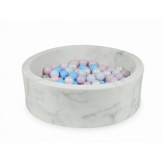 Rankų darbo apvalus marmuro spalvos kamuoliukų baseinas 90x30 su 200 vnt. kamuoliukų