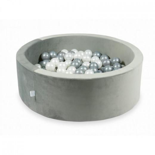 Rankų darbo apvalus velvetinis pilkas kamuoliukų baseinas 90x30 su 200 vnt. kamuoliukų