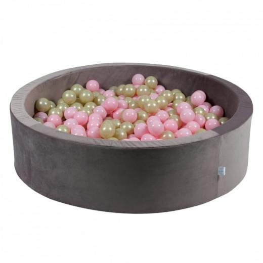 Rankų darbo apvalus velvetinis lila spalvos kamuoliukų baseinas 115x30 su 200 vnt. kamuoliukų