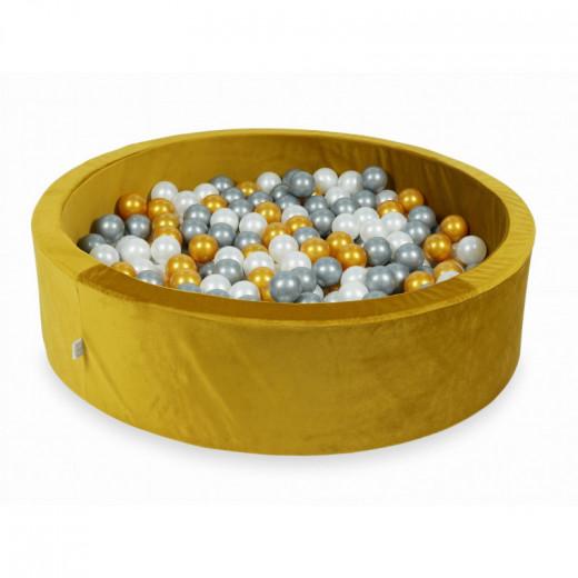 Rankų darbo apvalus velvetinis geltonas kamuoliukų baseinas 115x30 su 200 vnt. kamuoliukų