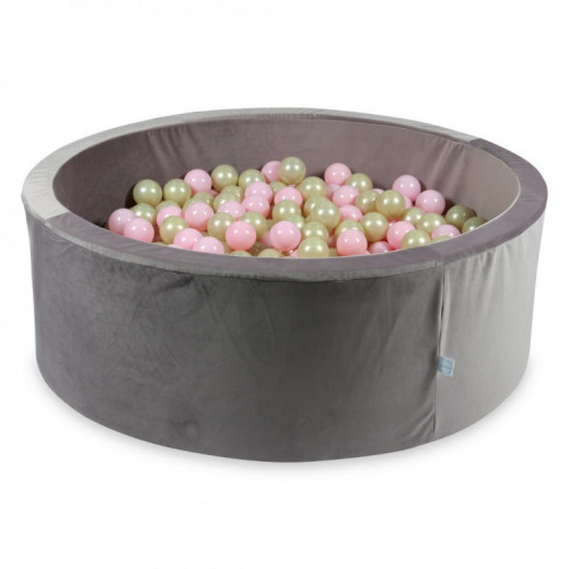Rankų darbo apvalus velveltinis lila spalvos kamuoliukų baseinas 115x40 su 200 vnt. kamuoliukų