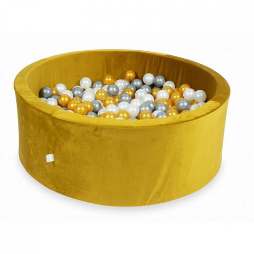 Rankų darbo apvalus velveltinis geltonas kamuoliukų baseinas 115x40 su 200 vnt. kamuoliukų
