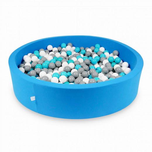 Rankų darbo apvalus mėlynas kamuoliukų baseinas 130x30 su 200 vnt. kamuoliukų