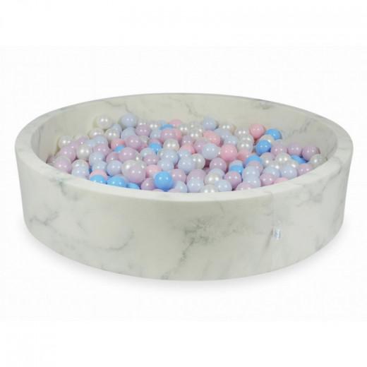 Rankų darbo apvalus marmuro spalvos kamuoliukų baseinas 130x30 su 200 vnt. kamuoliukų