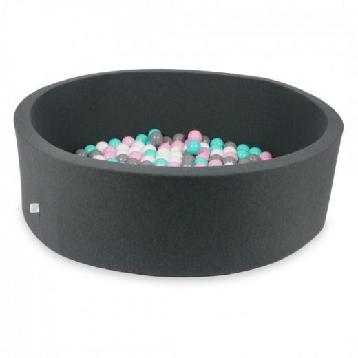 Rankų darbo apvalus grafito spalvos kamuoliukų baseinas 130x40 su 200 vnt. kamuoliukų