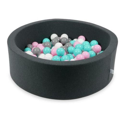 Rankų darbo apvalus grafito spalvos kamuoliukų baseinas 90x30 su 200 vnt. kamuoliukų