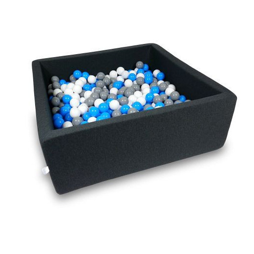 Rankų darbo kvadratinis grafito spalvos kamuoliukų baseinas 110x110x40 su 600 vnt. kamuoliukų