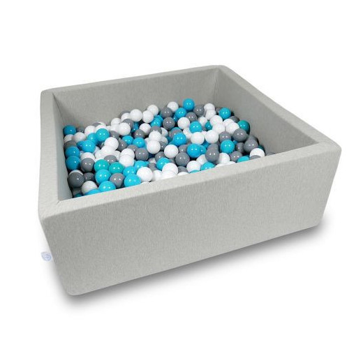 Rankų darbo kvadratinis šviesiai pilkas kamuoliukų baseinas 110x110x40 su 600 vnt. kamuoliukų