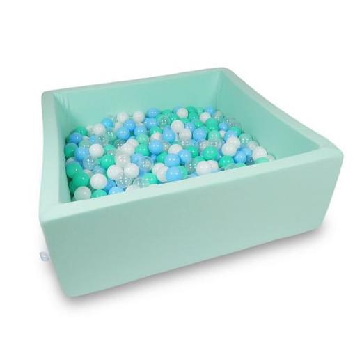 Rankų darbo kvadratinis mėtų spalvos kamuoliukų baseinas 110x110x40 su 600 vnt. kamuoliukų