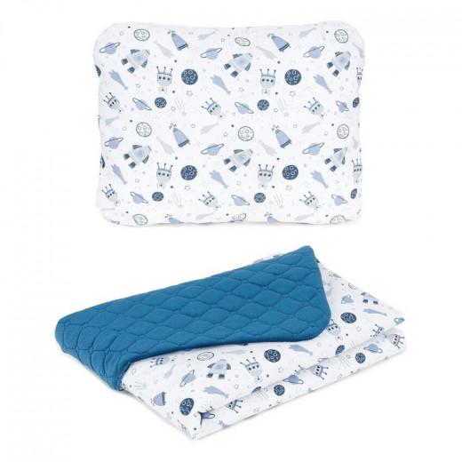 MamoTato pagalvė + antklodė, Kosmosas, mėlyna, 75x100