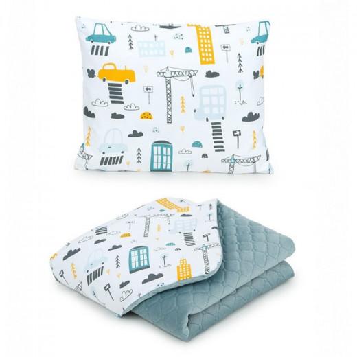 MamoTato pagalvė + antklodė, mietas, pilka, 75x100, Premium