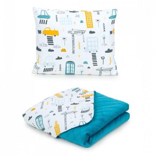 MamoTato pagalvė + antklodė, miestas, žydra 75x100, Premium