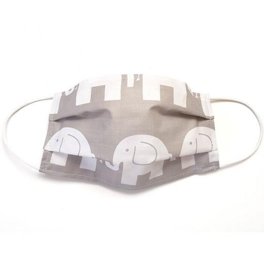 MamoTato vaikiška kaukė su kišene filtrui, gumytės, pilkas - drambliukas
