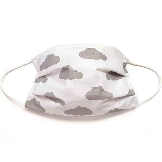 MamoTato vaikiška kaukė su kišene filtrui, gumytės, balta - pilki debesėliai