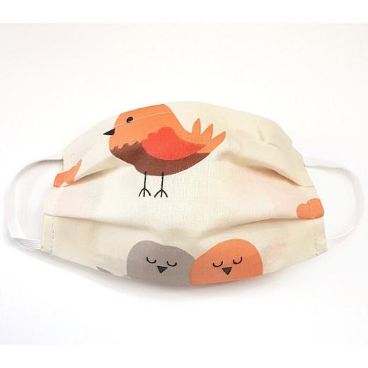 MamoTato vaikiška kaukė su kišene filtrui, gumytės, kreminė - paukščiukai