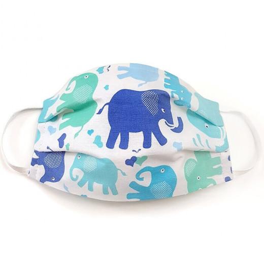 MamoTato vaikiška kaukė su kišene filtrui, gumytės, mėlyni - drambliukai
