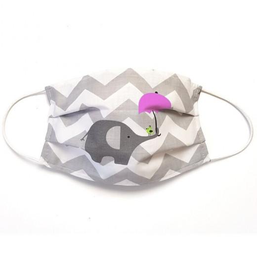 MamoTato vaikiška kaukė su kišene filtrui, gumytės, balta - drambliukas
