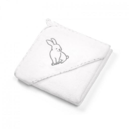 BabyOno rankšluostis su gobtuvu veliūras 100x100 baltas, zuikis, 540/01
