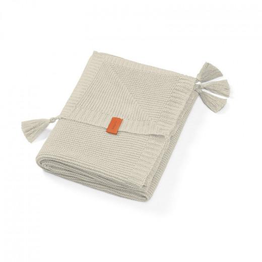 Babyono pledas megztas su kutukais, bambukinis, pilkas, 546/04