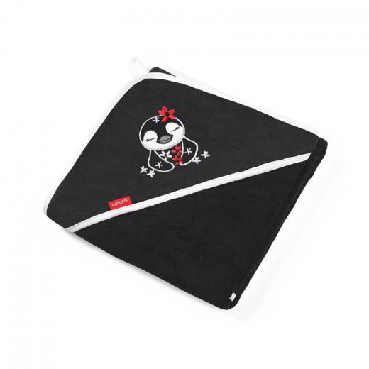 BabyOno rankšluostis su gobtuvu bambukinis 85x85 juodas, pingvinas, 343/02