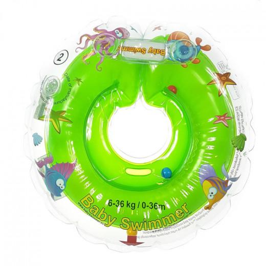 Baby Swimmer plaukimo ratas kūdikiams ant kaklo be barškučio 6-36 kg., žalias