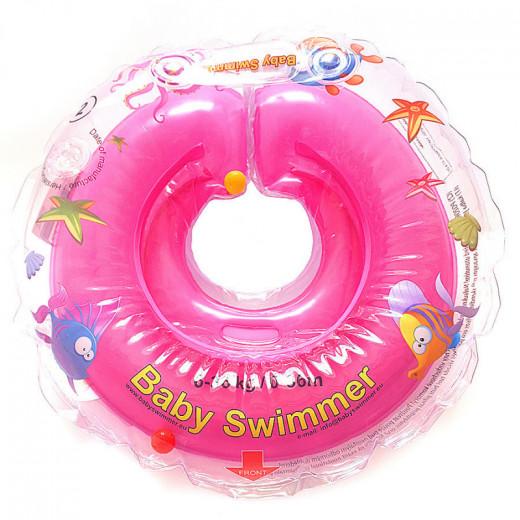 Baby Swimmer plaukimo ratas kūdikiams ant kaklo be barškučio 6-36 kg., rožinis
