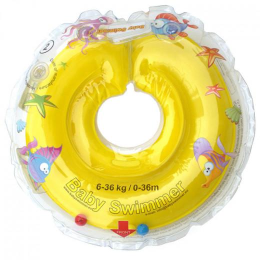 Baby Swimmer plaukimo ratas kūdikiams ant kaklo be barškučio 6-36 kg., geltonas