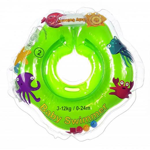 Baby Swimmer plaukimo ratas kūdikiams ant kaklo be barškučio 3-12 kg., žalias