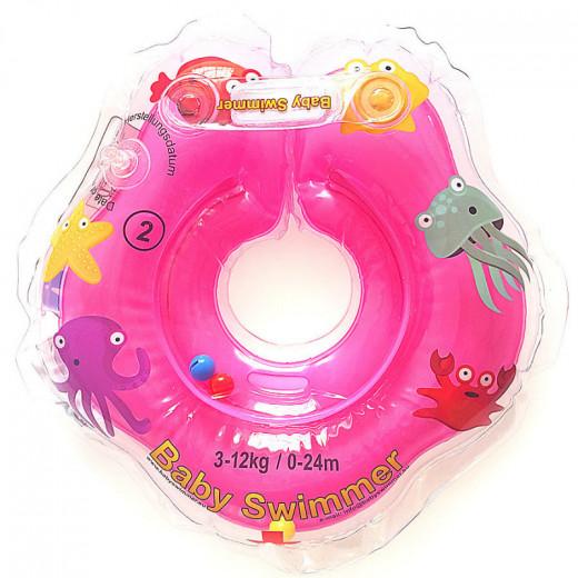 Baby Swimmer plaukimo ratas kūdikiams ant kaklo be barškučio 3-12 kg., rožinis