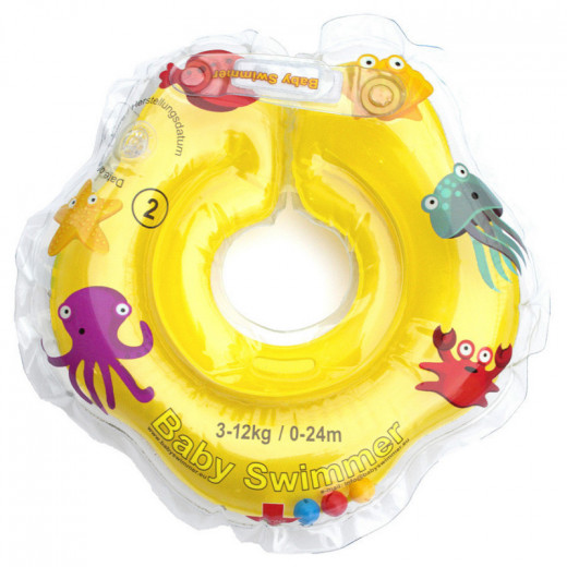 Baby Swimmer plaukimo ratas kūdikiams ant kaklo be barškučio 3-12 kg., geltonas